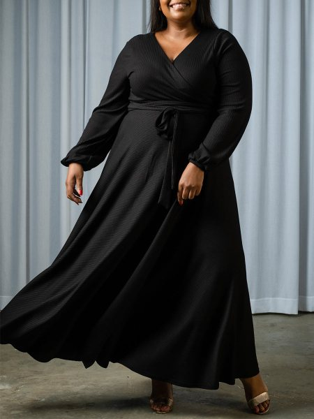 Plus size black knit fabric dress South Africa