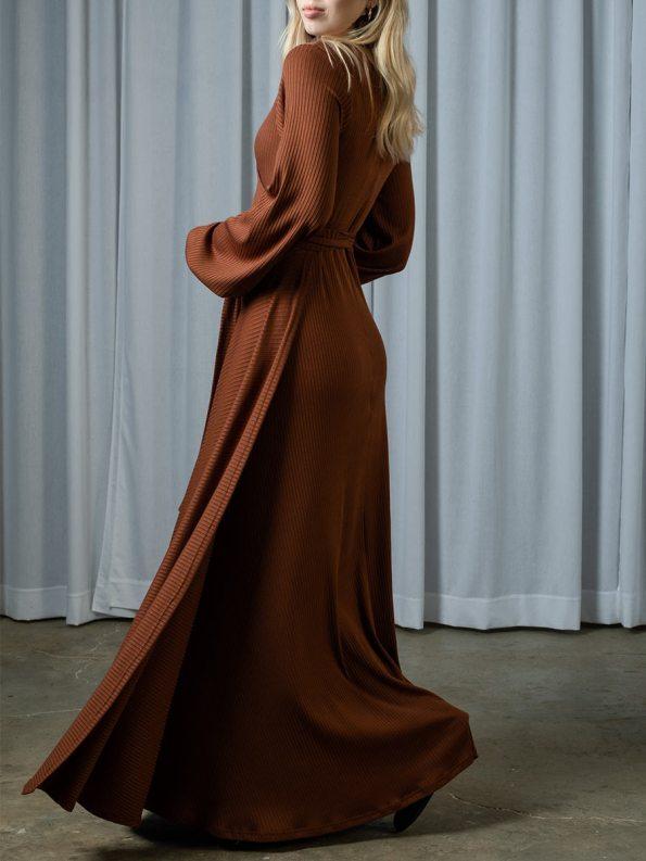 IDV Knit Maxi Wrap Dress Copper 1