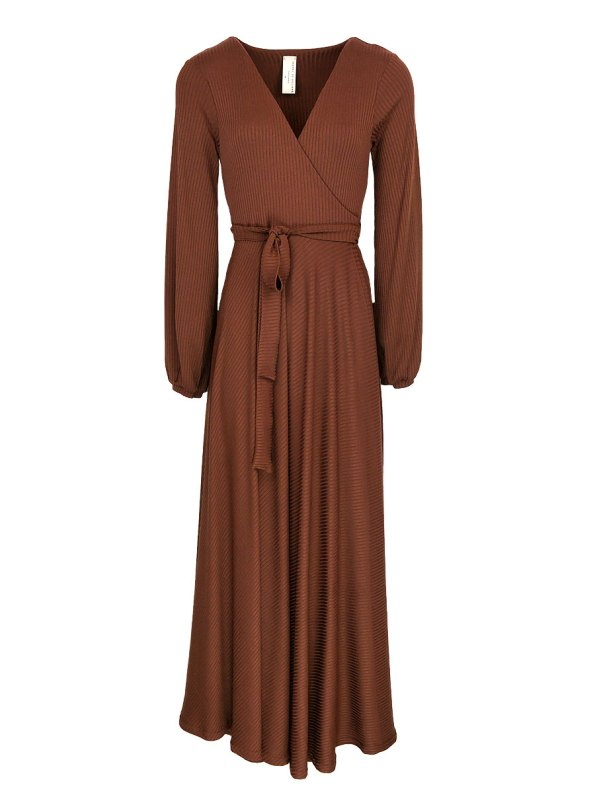 IDV Maxi Knit Wrap Dress Copper
