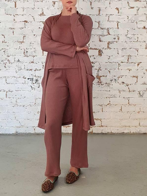 JMVB Loungewear Straight Cardigan Cognac 1