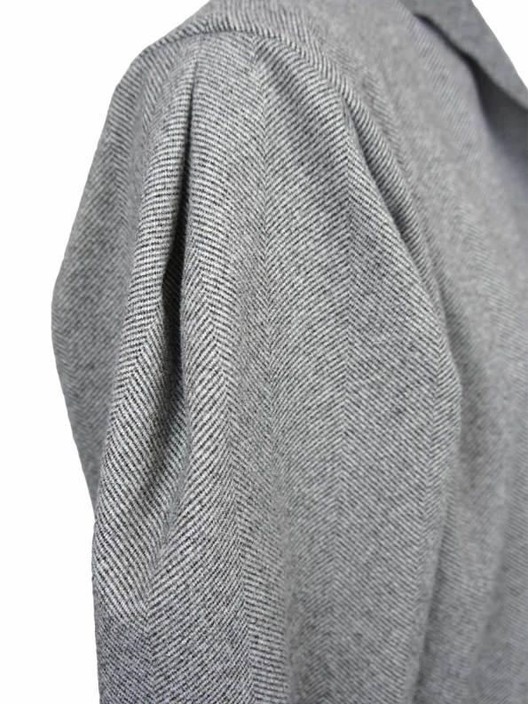 JMVB Signature Coat Grey Herringbone Shoulder