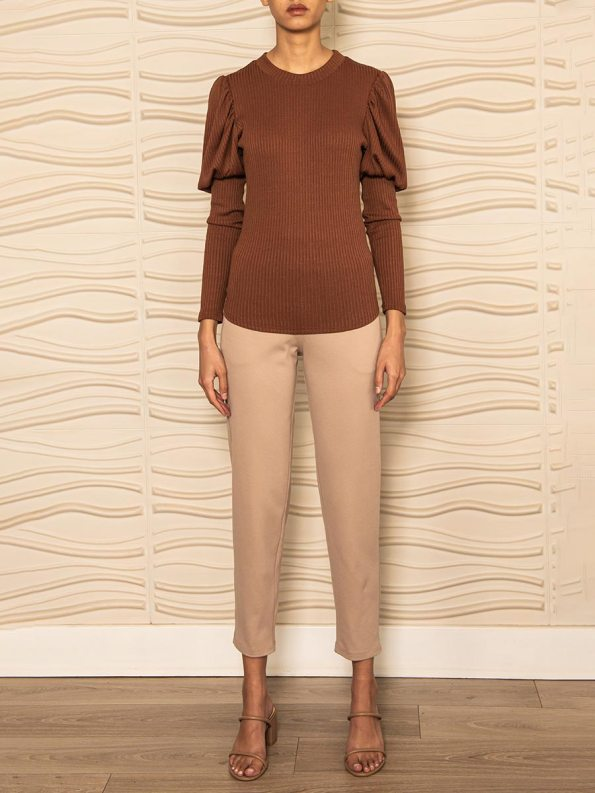 Smudj Phoebe Knit Top Brown Front