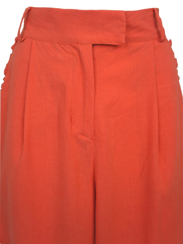 Asha Eleven High and Wide Pants Coral Detail