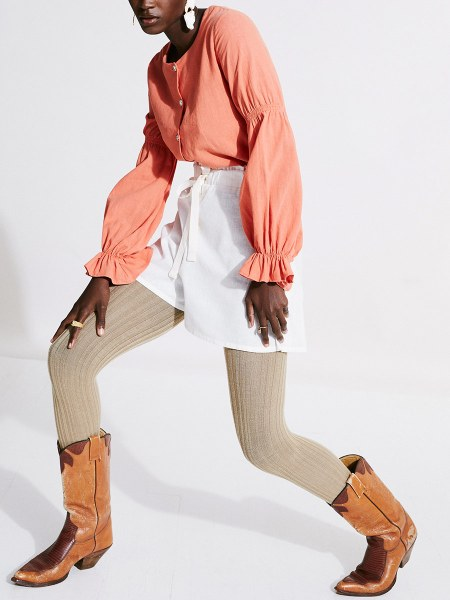 coral blouse and white shorts hemp South Africa
