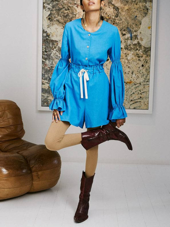 Asha Eleven Outlander Blouse Salama Shorts Cornflower Blue 5
