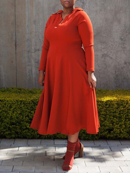 Plus size orange fit and flare dress