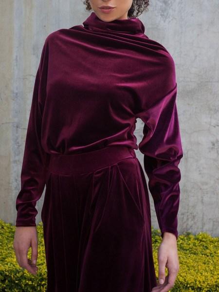 wine red velvet top for women