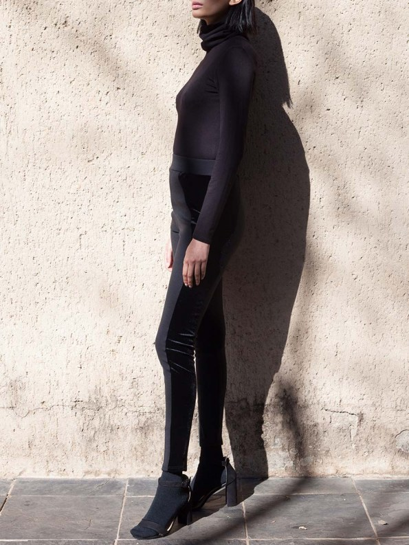 Erre Velvet Panel Leggings Black 4
