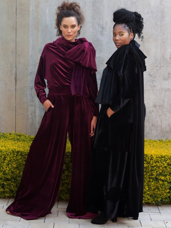 Erre Velvet Top Pants and Bow Wine and Black