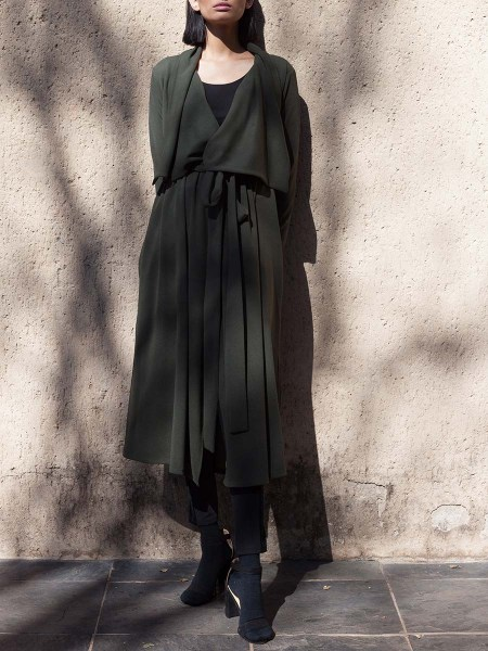 Olive green women's winter coat