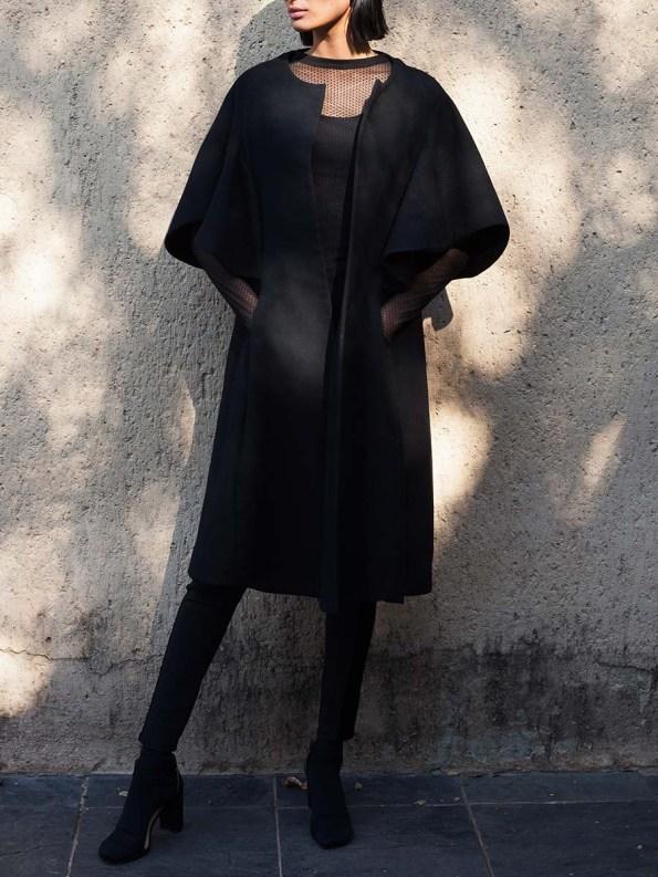 Erre Wool Cape Sleeve Coat Black 4