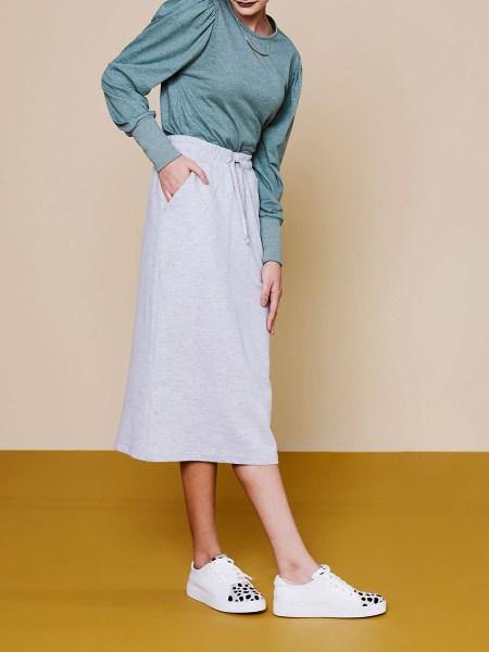 melange grey skirt with green top