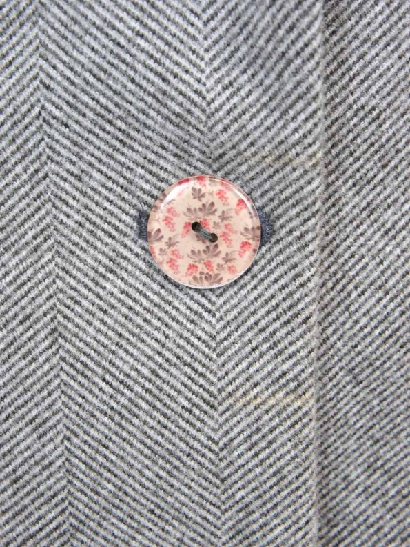 House of Cinnamon Blazer Grey Herringbone Button