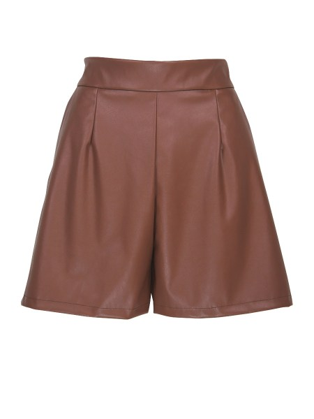 brown leather shorts women's