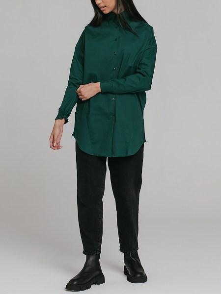Green women's button down shirt
