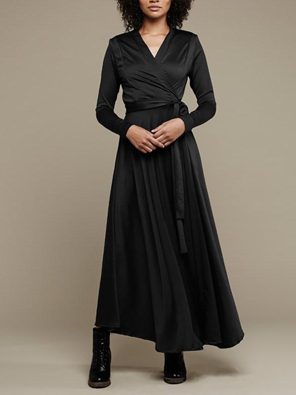 Mareth Colleen Jo Wrap Dress Black 1