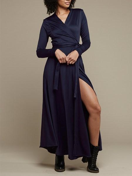navy long wrap dress South Africa