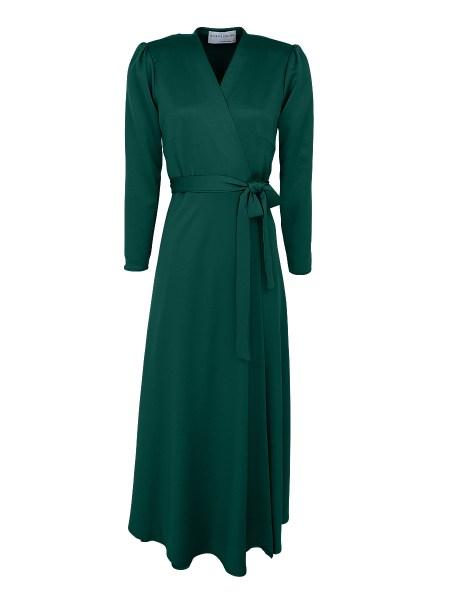 emerald green satin wrap dress