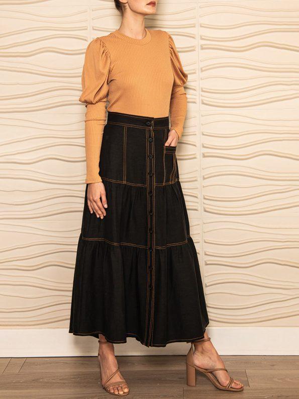 Smudj Demma Tiered Skirt Black 4