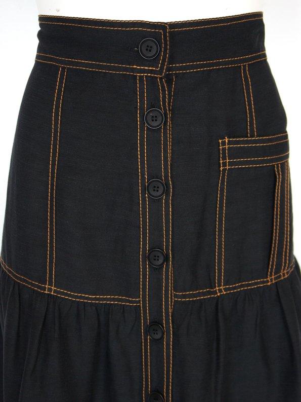 Smudj Demma Tiered Skirt Black Detail