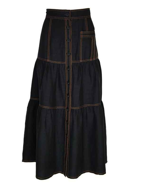 Smudj Demma Tiered Skirt Black