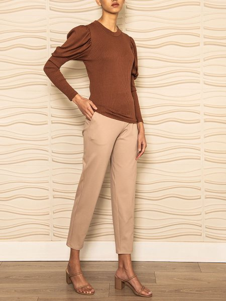 ladies beige jogger with brown puff sleeve top South Africa