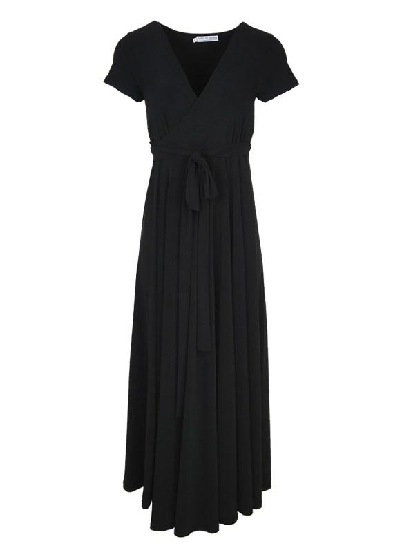 Isabel de Villiers Summer Black Maxi Wrap Dress