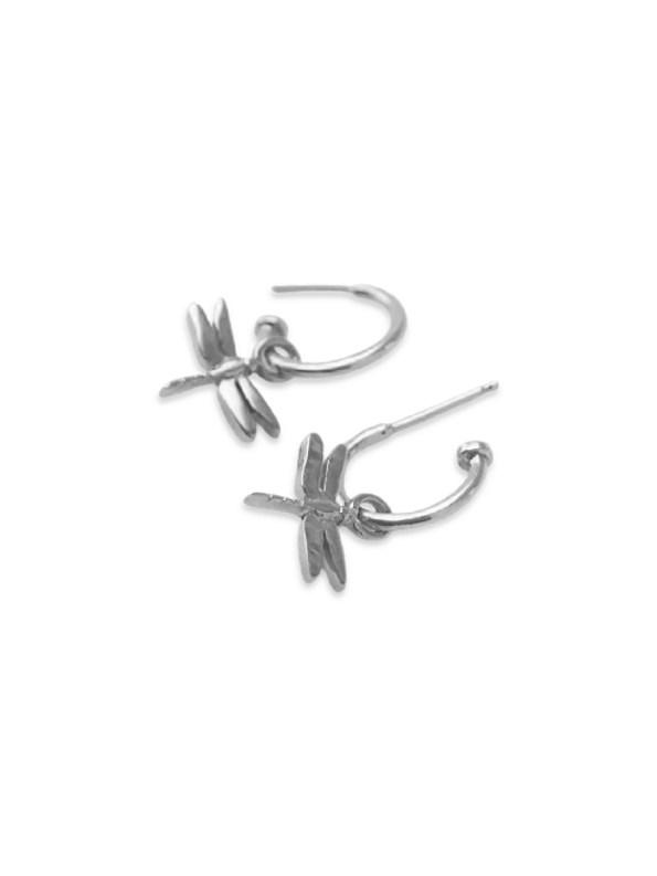 Kirsten Goss Dragonfly Huggies Silver