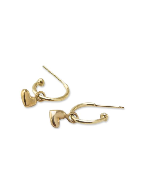 Kirsten Goss Huggie Hearts Earrings Gold