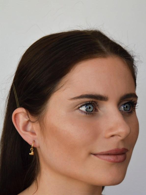 Kirsten Goss Huggie Hearts Earrings Gold on Model