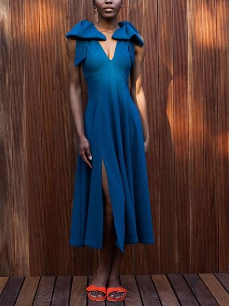 blue midi dress with slits