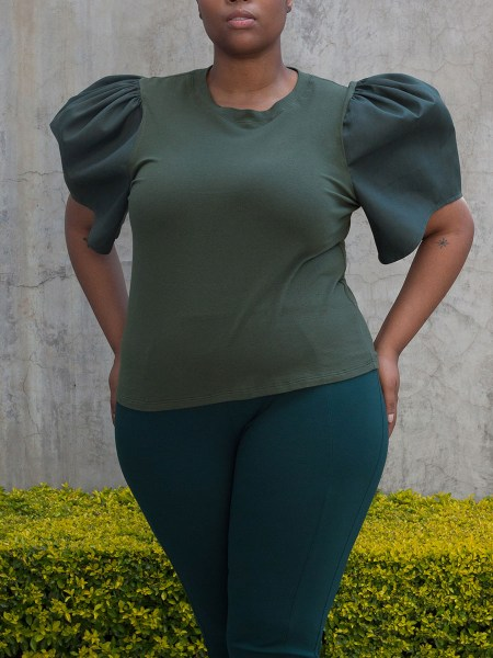 olive green puff sleeve top South Africa