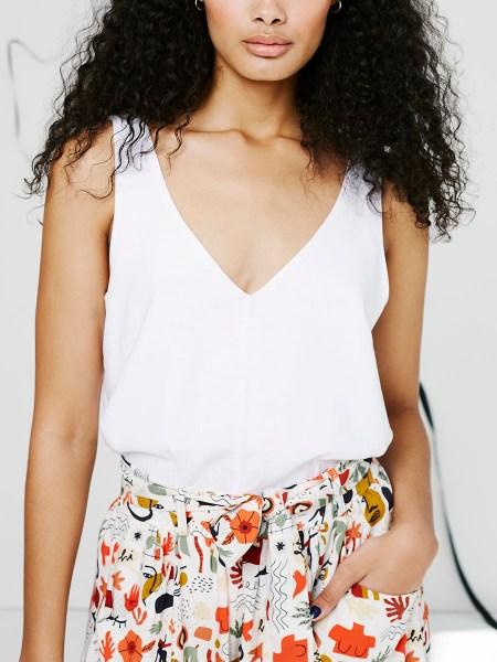 white linen camisole top