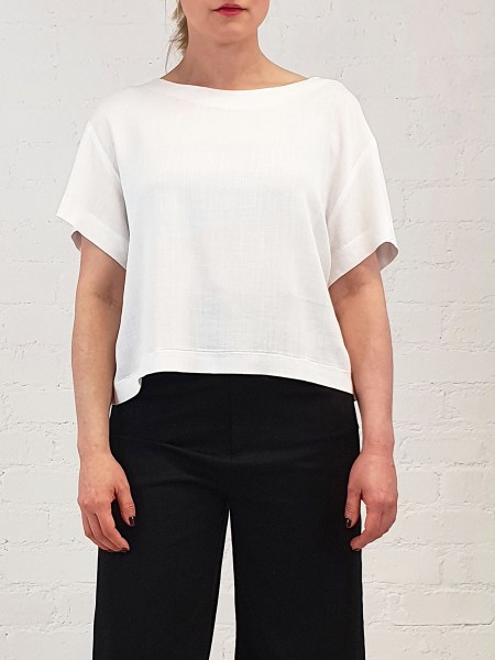 cropped white top