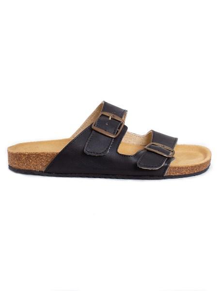 black leather sandals women