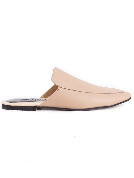 beige leather mules leather