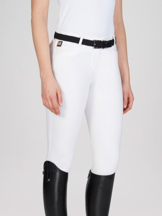 women's Equiline ASH Breeches with X-Grip Knee Patch in white