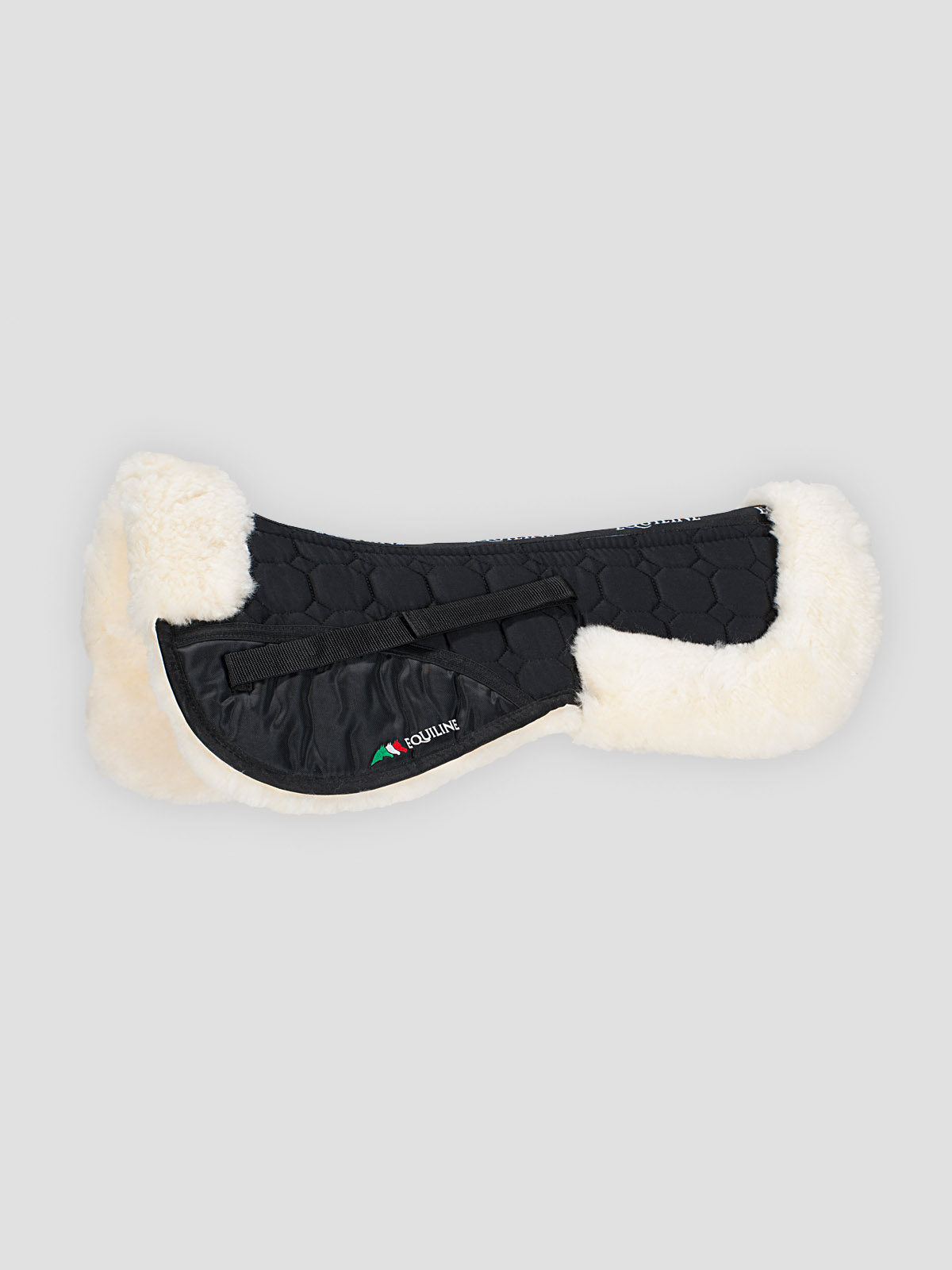 Equiline Argo sheepskin half pad in black/natural