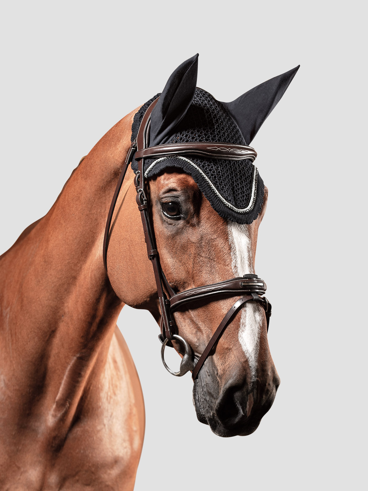 Equiline RIO ear bonnet with piping and rhinestone trim in black