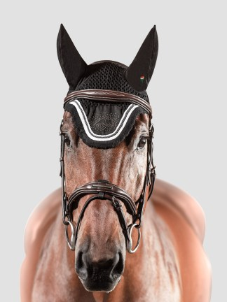 Equiline Joyce Ear bonnet with crystal studs in black