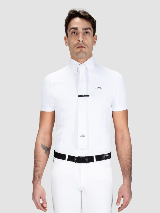 Equiline Vick men's short sleeve show shirt in white
