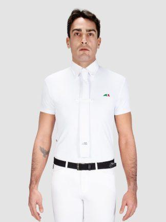Equiline Fox men's short sleeve show shirt in white