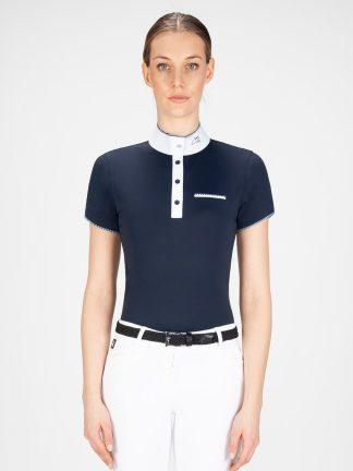 GRETA - Women's Show Shirt with White/blue Trim