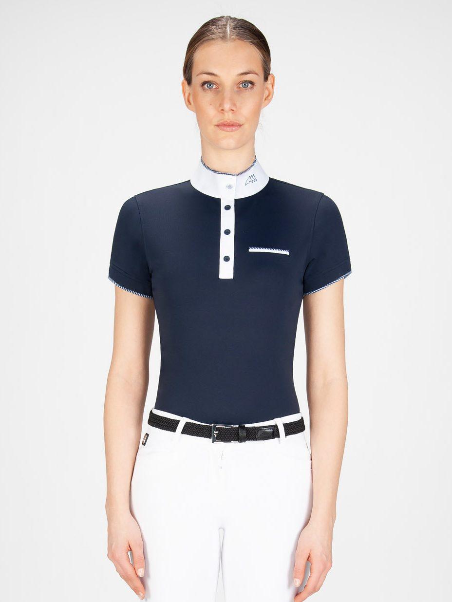 GRETA - Women's Show Shirt with White/blue Trim 2