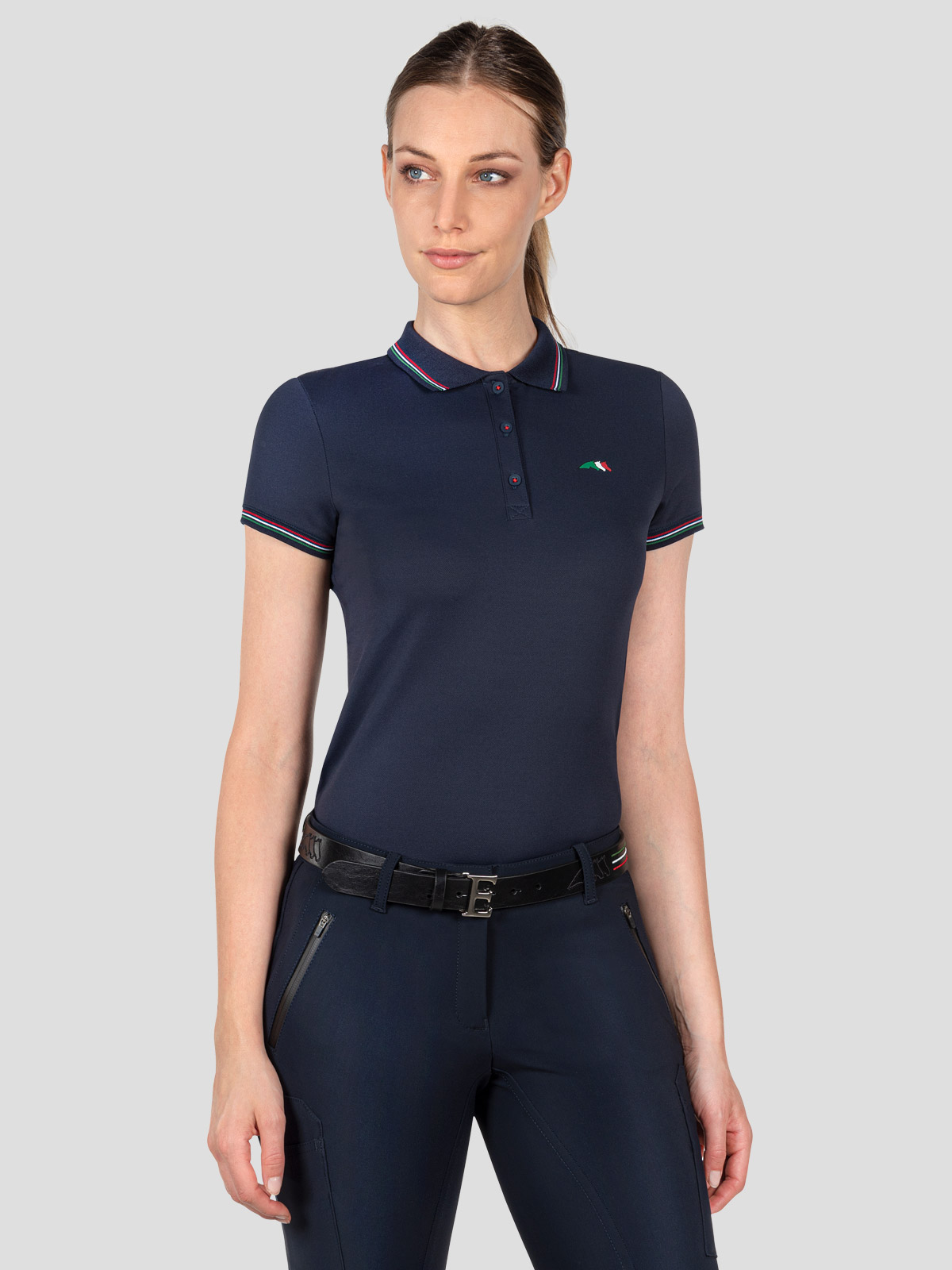 WOMEN'S TRAINING POLO SHIRT WITH ITALIAN FLAG TRIM 1