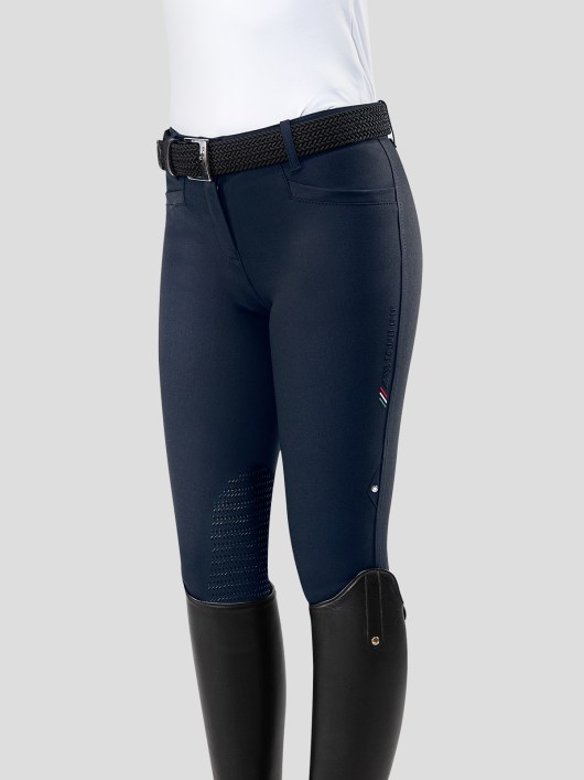 TEAM COLLECTION - WOMEN'S KNEE GRIP BREECHES WITH ITALIAN STRIPE LOGO 3
