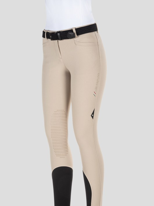 TEAM COLLECTION - WOMEN'S KNEE GRIP BREECHES WITH ITALIAN STRIPE LOGO 1