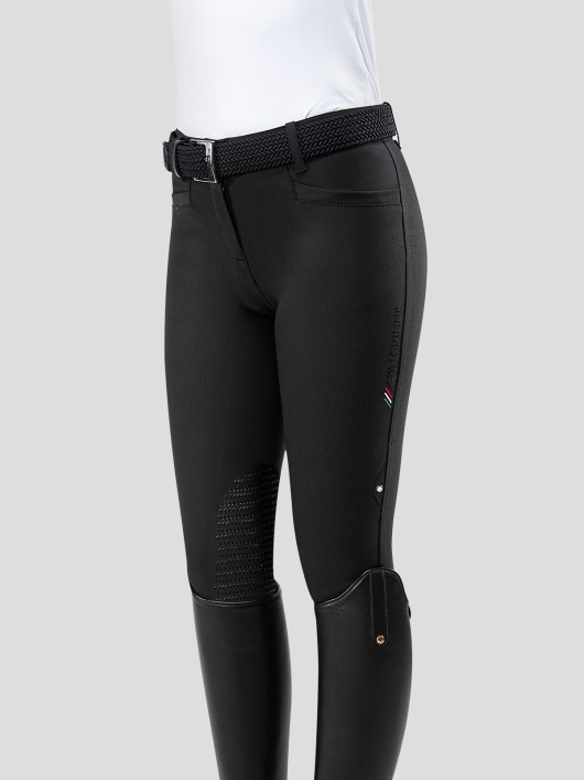 TEAM COLLECTION - WOMEN'S KNEE GRIP BREECHES WITH ITALIAN STRIPE LOGO 6