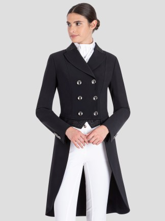GREM WOMEN'S TAILCOAT WITH LACE EMBROIDERY DETAILS