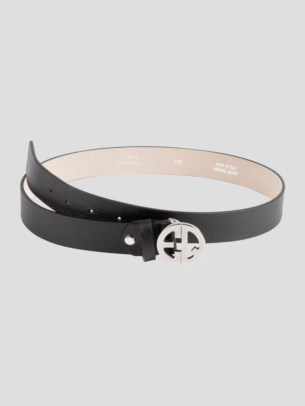 Echilae Equiline leather belt with circle logo buckle